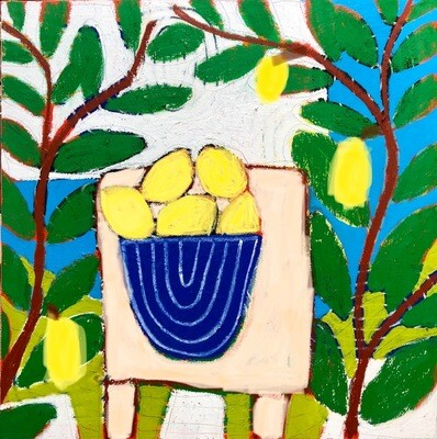 Lemon bowl and Sea 100 x 100 cm