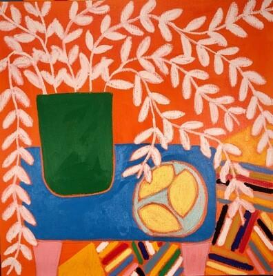 Blue table still life in Orange 2 120 x 120 cm