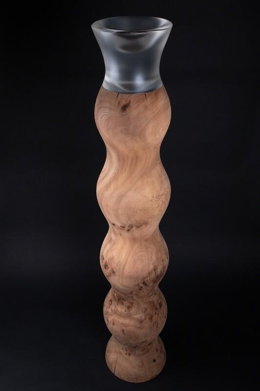 Déroulé de loupe d'orme 22 x 27 x 140 cm