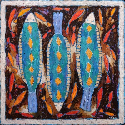 Poissons bleus<br>83 x 83cm