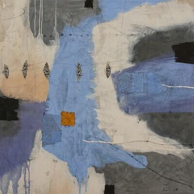 Continents bleus en derive 110 x 110 cm