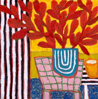 Red plant pink table 100 x 100 cm