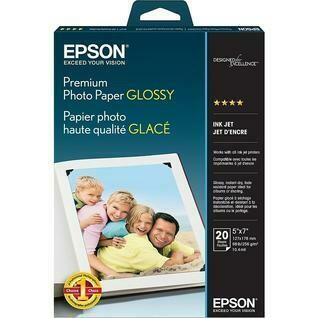 """Epson Premium Photo Paper, 5"""" x 7"""", Glossy, 20 Pack"""
