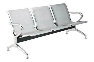 Tandem Monaco 3 Puestos en Metal Color Aluminio
