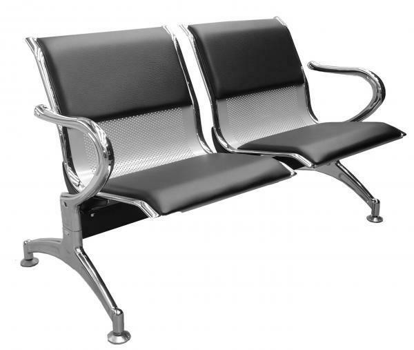 Tandem Monaco 2 Puestos Color Aluminio Tapizado en Cuero Sintético Color Negro