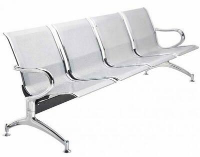 Tandem Monaco 4 Puestos en Metal Color Aluminio
