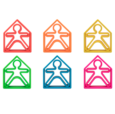 Neon Kids & Houses 6 Pack (Assorted Colors)