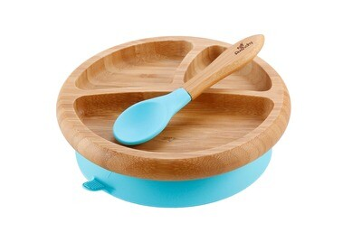 Avanchy Baby Bamboo Stay Put Suction Plate + Spoon