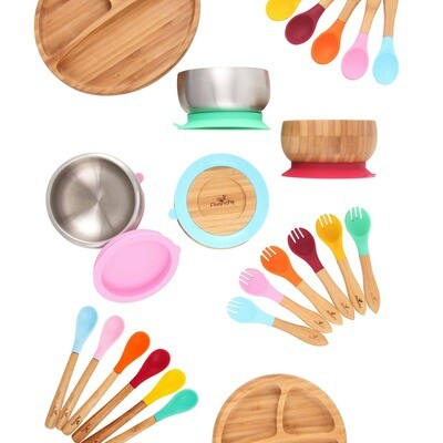 Avanchy Baby Bamboo Stay Put Suction Bowl + Spoon