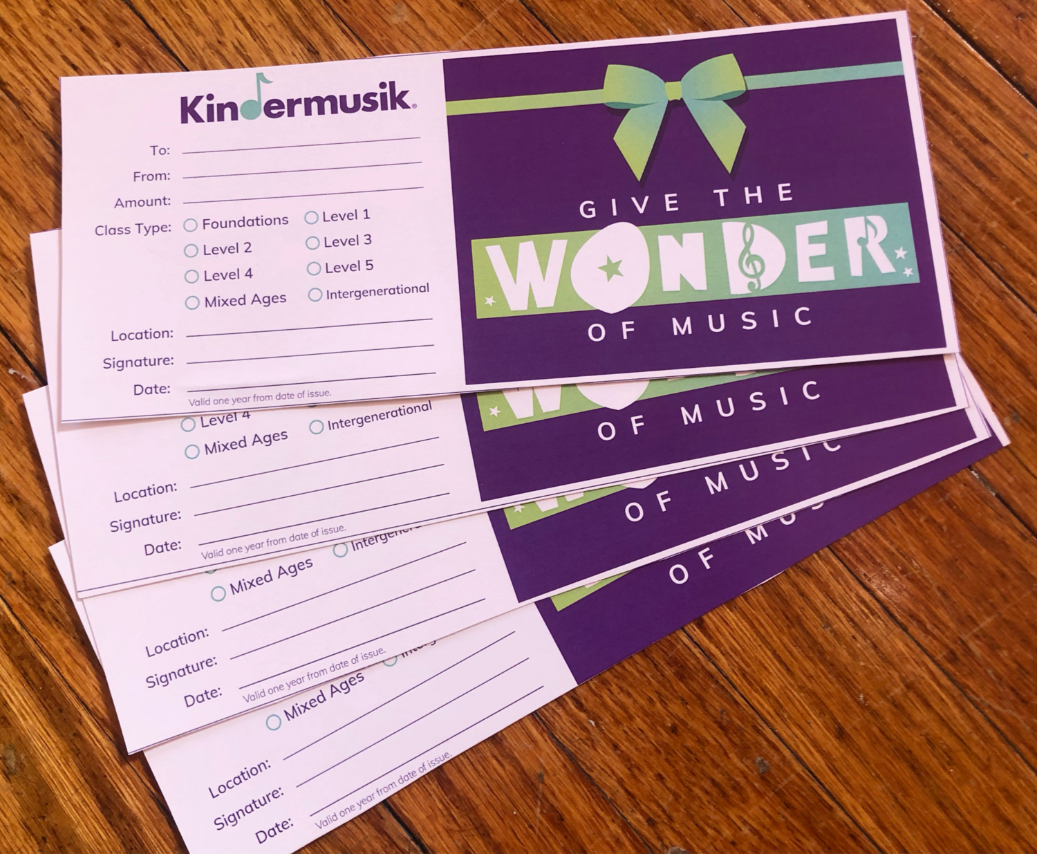 Kindermusik Tuition Gift Certificates