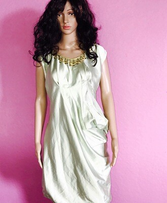 Green Satin Dress With Vintage Beads