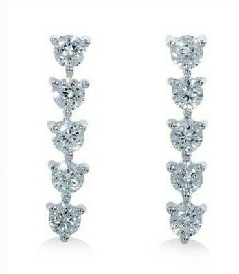14K white gold 2/3ctw 5 Stone diamond drop earring