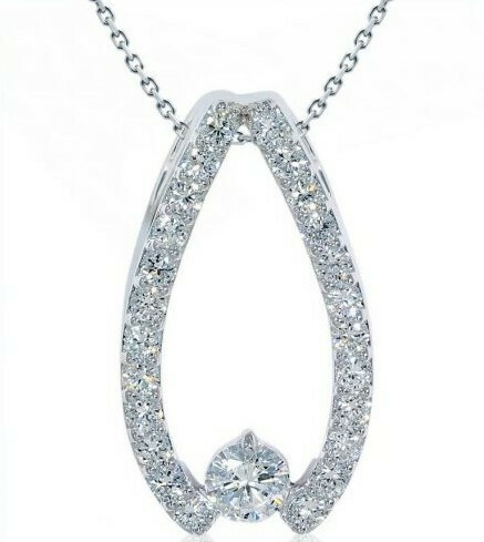 14K white gold 3/4 Ctw diamond pendant