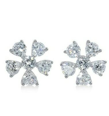 14K white gold 7/8ctw diamond earring
