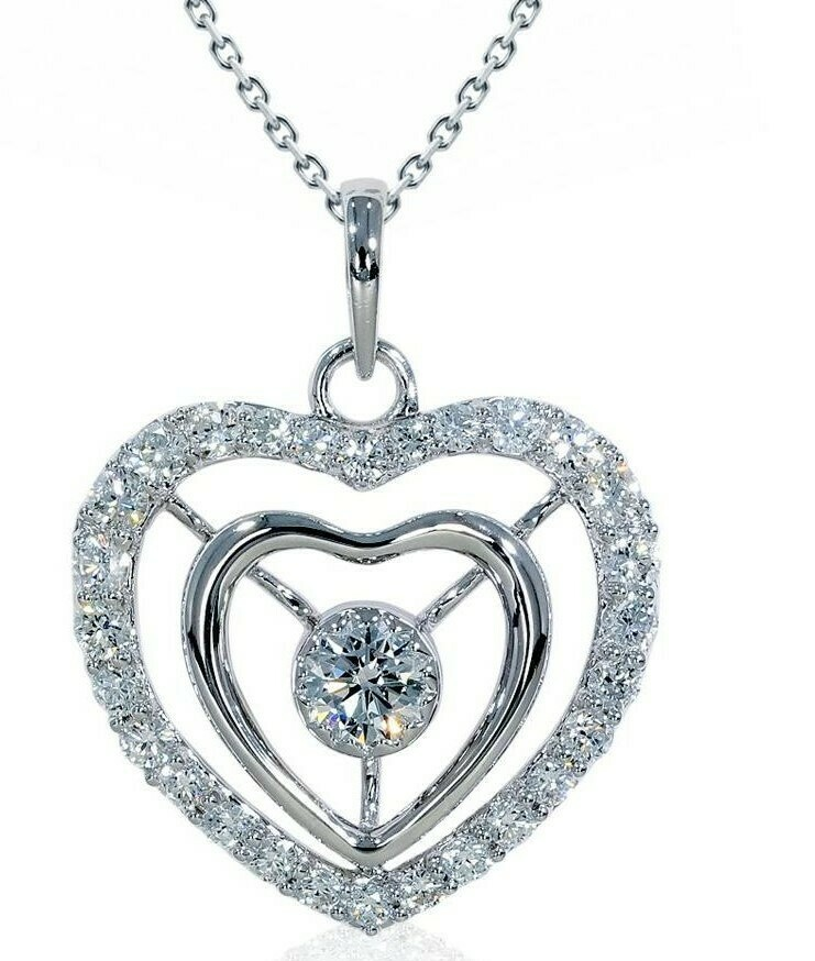 14K white gold 1/2 ctw diamond heart pendant