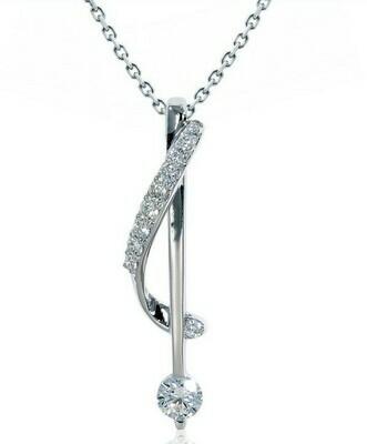 14K white gold 1/3 ctw diamond drop pendant
