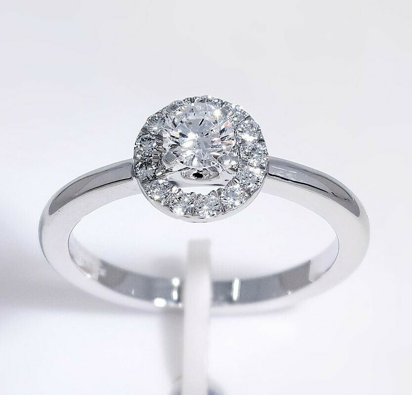 14K white gold 1/2 ctw halo diamond ring