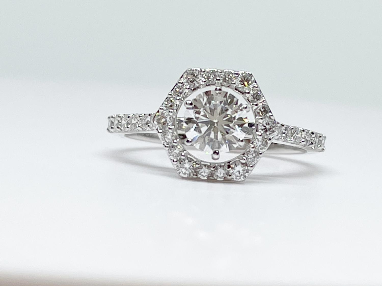 14K white gold 1 1/4ctw diamond halo ring