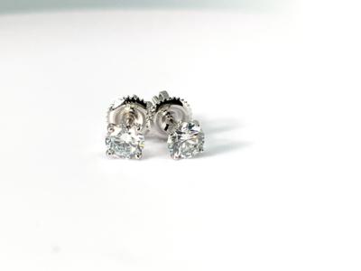 14K white gold 7/8 ctw diamond stud earrings