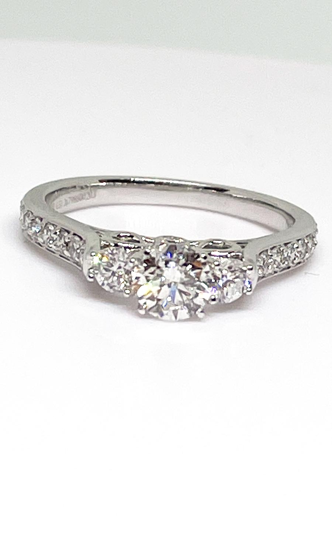 14K white gold 1 ctw 3 stone diamond ring