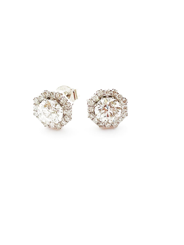 14K white gold 2 ctw diamond stud earrings
