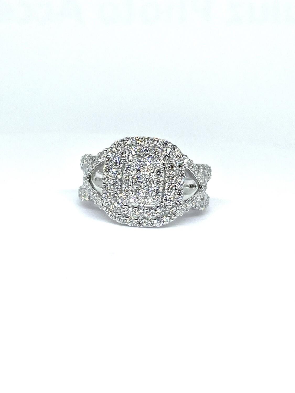 14k White Gold 1 1/2 Ctw Diamond Ring