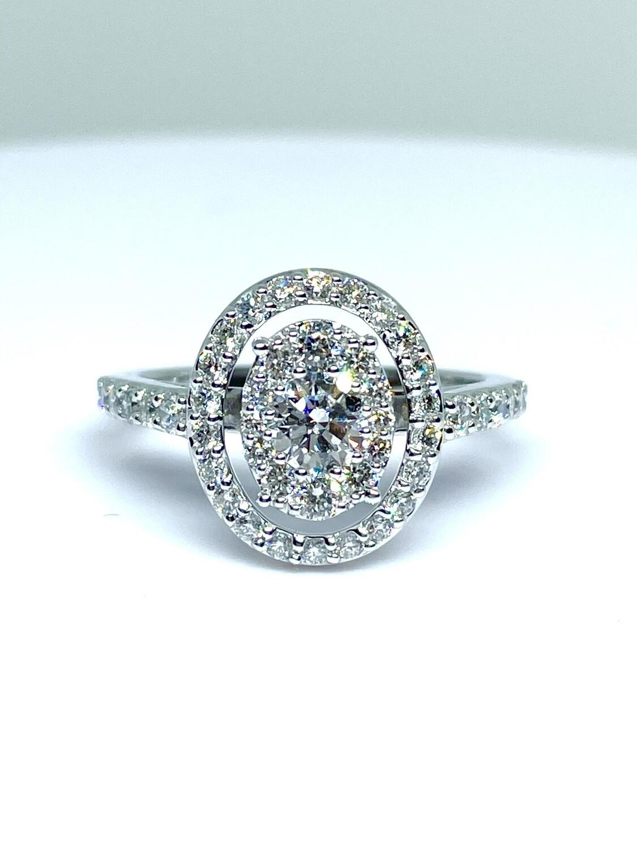 14k White Gold 1 ctw Oval Halo Diamond Ring