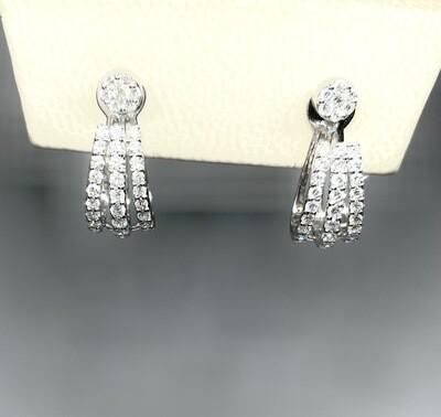 14k White Gold 1 Ctw Diamond Earrings