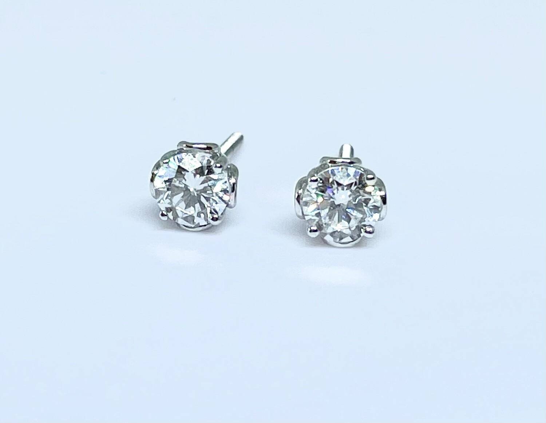 14K White Gold 2/3 Ctw Diamond Stud Earrings