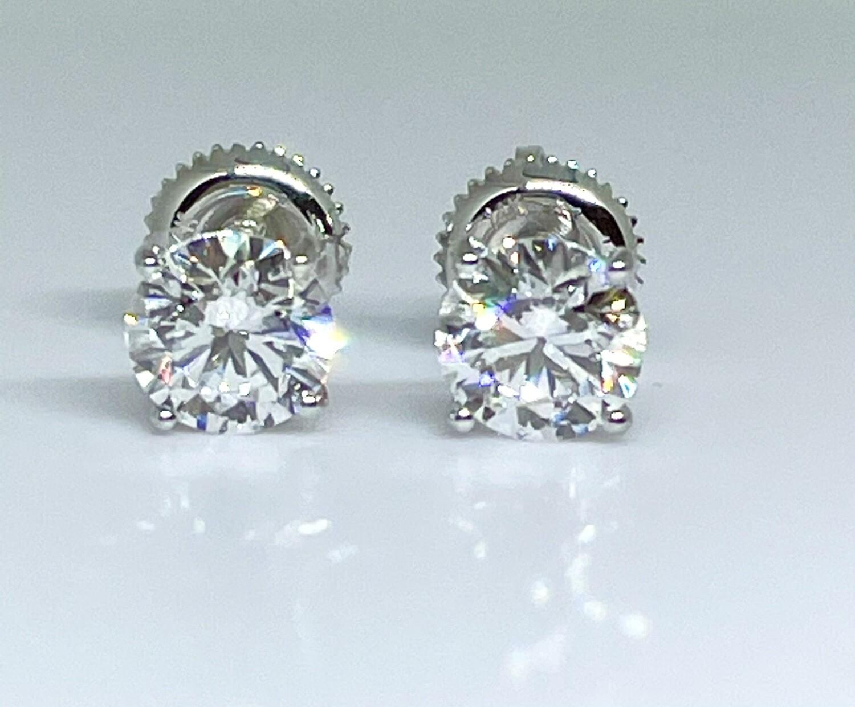 14K White Gold 1 1/2 Ctw Diamond Stud Earrings