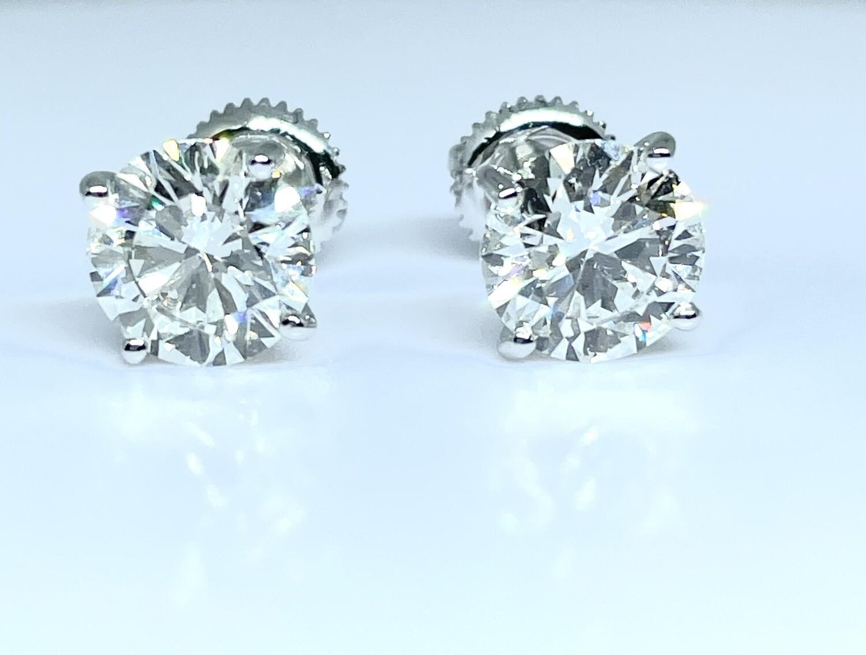 14K White Gold 2 3/4 Ctw Diamond Stud Earrings