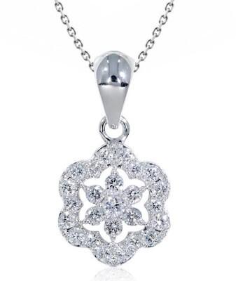14K White Gold 2/3 Ctw Diamond Pendant