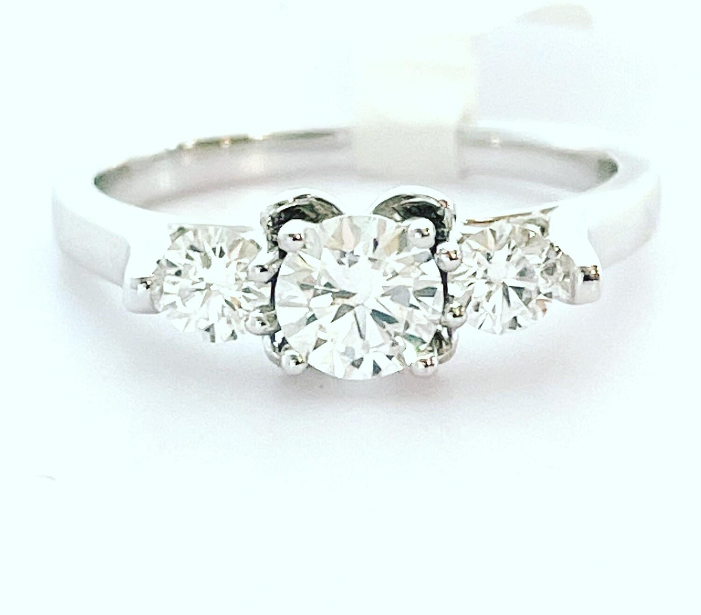 14K White Gold 4/5 Ctw 3 Stone Diamond Ring