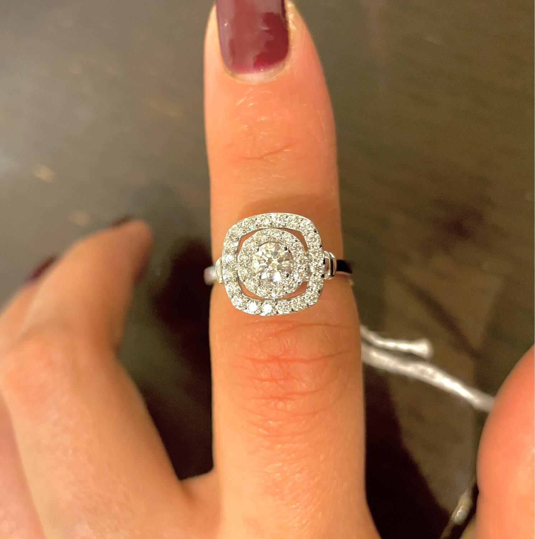14K White Gold 3/4ctw Double Halo Diamond Ring
