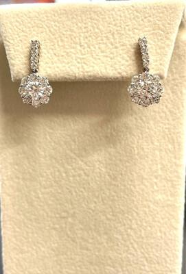 14K White Gold 2 1/3 Ctw Diamond Earrings