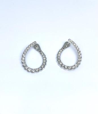 14k White Gold 1 3/4 Ctw Diamond Earrings