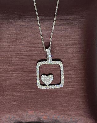 14K White Gold 1/2 Ctw Diamond Pendant