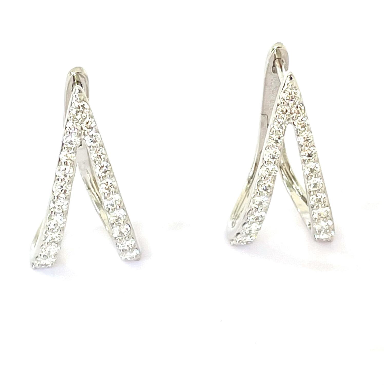 14K White Gold 7/8ctw Diamond Earrings