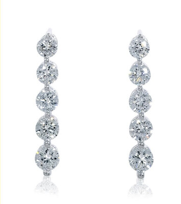 14K White Gold 1/2 Ctw Diamond Drop Earrings
