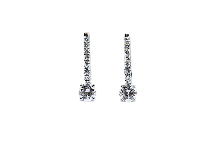 14K White Gold 1.65 Ctw Diamond Earrings