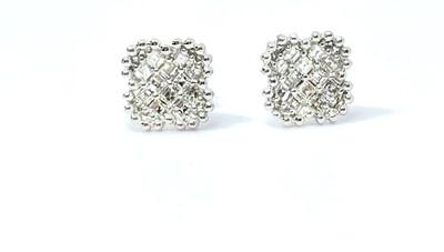 18K White Gold clover Framed 2/3 Ctw Diamond Earrings