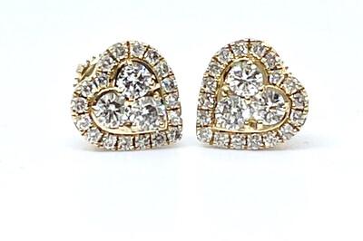 14KY Diamond Heart Shaped Earrings