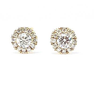 14K Yellow Gold Diamond Halo Earrings