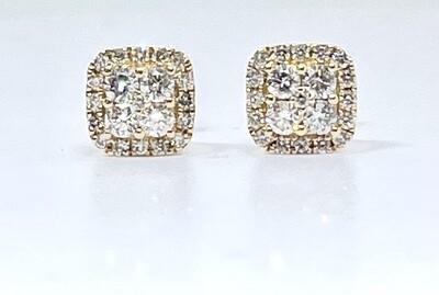 14KY  3/4 Ctw Diamond Cluster Earring