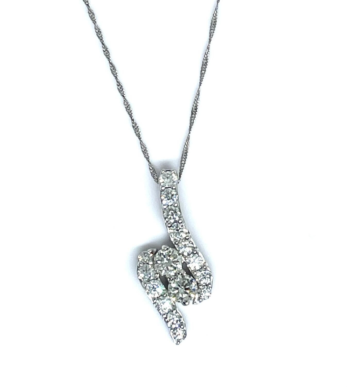 14K White Gold 1 1/2ctw Diamond Pendant