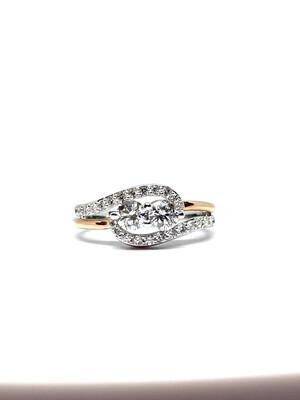 14K Two Tone 1 Ctw Diamond Ring