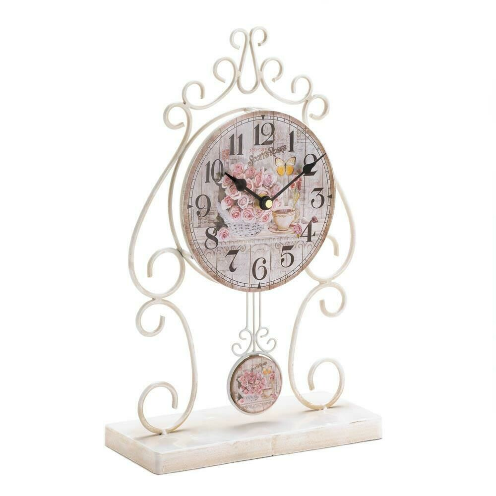 COUNTRY ROSE TABLE CLOCK
