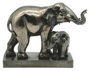 ELEPHANT W/CUB BRONZE
