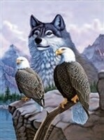 3D NON FRAMED WOLF W/EAGLES 166