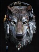 3D NON FRAMED WOLF/HEADPHONES 260
